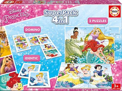 Educa - Superpack Princesas Disney Princess Pack de Domino, Identic y 2 Puzzles, Juego de Mesa, Multicolor (17198)