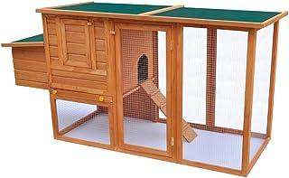 Jaula de Pollo de Exterior Casa de Gallina Con 1 Jaula de Huevo Madera