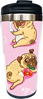 Waldeal I Love Pug Travel Coffee Mug with Flip Lid, Pink Stainless Steel Water Bottle Tumbler Cup 15 OZ for Dog Mom Girls