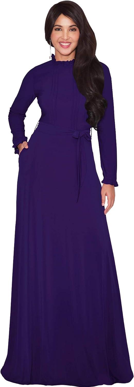 KOH KOH Womens Long Sleeve Elegant Pockets Fall Winter Evening Maxi Dress Gown