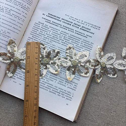 Hete 6cm brede glitter organza kant stof pailletten kralen bloemen geborduurd lint kraag trim applique voor trouwjurk naaien, goud, 1 yard