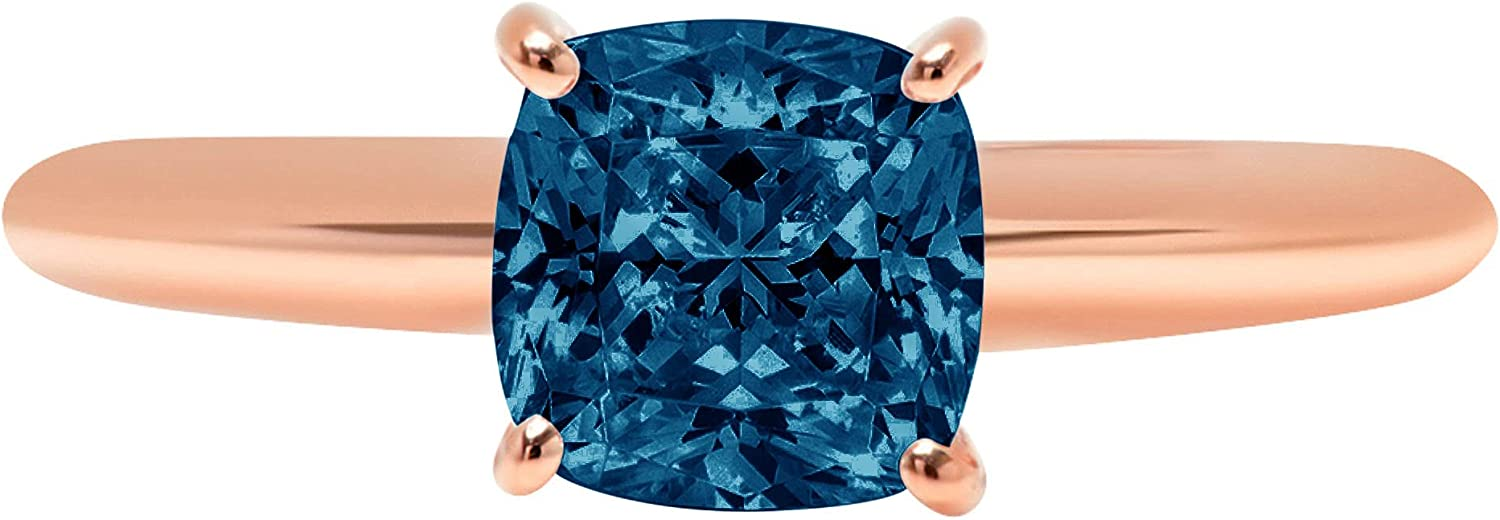 0.9ct Brilliant Cushion Cut Solitaire Natural Royal Blue Ideal VVS1 4-Prong Engagement Wedding Bridal Promise Anniversary Ring Solid 14k Rose Gold for Women