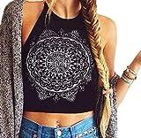 Ularma Womens Mandala Print Tank Crop Tops Chaleco Blusa sin Mangas Atado al Cuello T - Shirt(L, Negro)