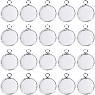 PP OPOUNT 70Pieces Pendant Trays Fit 12mm Stainless Steel Round Blank Bezel Pendant Trays Blanks Trays Pendant for Jewelry...