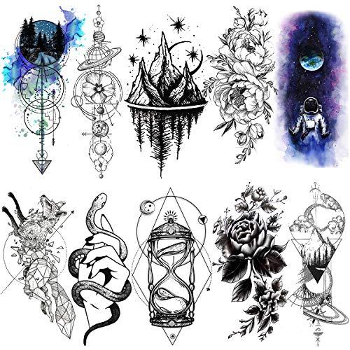 LAROI 10 Blätter Groß schwarz geometrisch Gebirge Anker Pfeile Erwachsene Temporäre Tattoos Frauen Männer gefälscht Ganzer Arm Tattooaufkleber Mädchen Frauen Sanduhr Tattoos Armband Maenner Tatoos