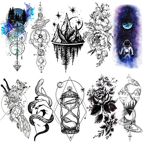 LAROI 10 Hojas Grande Negro Geométrico Montaña Ancla Flechas Adultos Tatuajes Temporales Mujer Hombre Piernas Color Agua Falsas Brazo Completo Tatuaje Temporal Niñas Mujer Reloj Arena Tattoos