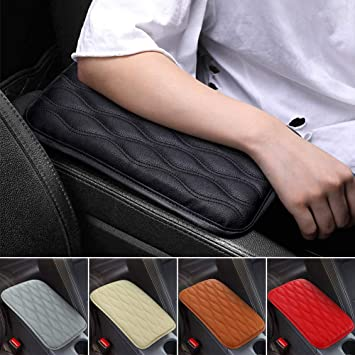 Black Car SUV Armrest Box Mats Console Pad Liner Cushion Cover PU Leather