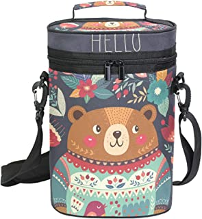 Montoj Bolsa enfriadora de vino aislada para viaje Hello Bear y bolsa de transporte de vino floral