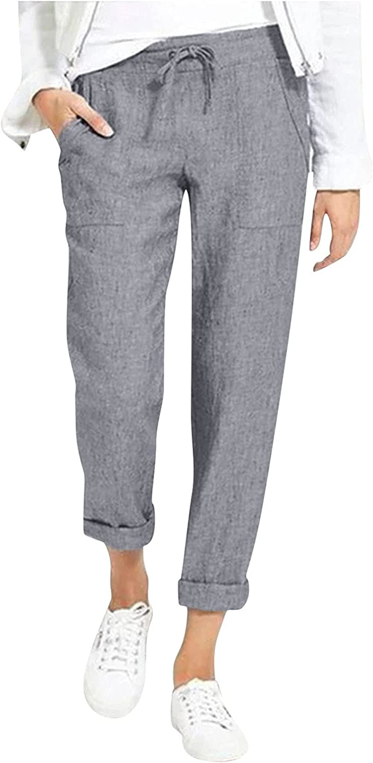 USYFAKGH Womens Tapered Pants Elastic Waist Linen Pants Summer Bottoms Drawstring Long Pant with Pockets