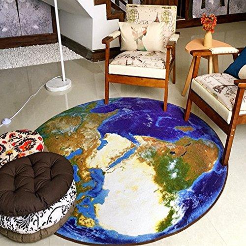 GJ Fashion Creative 3D Globe Rond Entrée Porte Chaise Tapis Étude Ordinateur Chaise Tapis Non Slip Feet Mat (taille : Diameter 80cm)