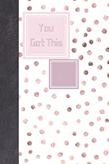 You Got This Dot Dot Grid It: Travel Friendly Stylish Pink Polka Dots With Black Stripes On The Back With Motivational Quote On The Cover Journal
