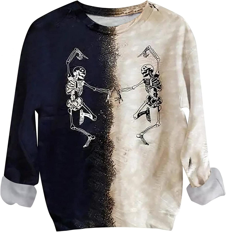 Tie Dye Sweatshirts for Women Teen Girls Pullover Bleached Vintage Long Sleeve Loose Sweatshirt Graphic Casual Tops