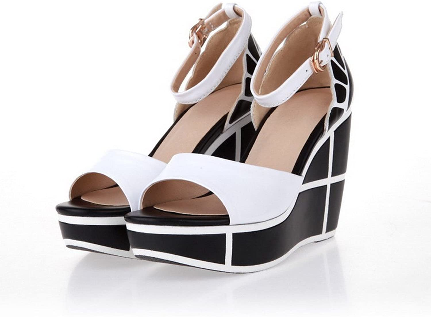 AllhqFashion Women's Round Peep Toe High Heels Cow Leather Solid Sandals with Platform