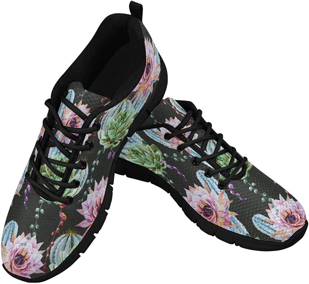 InterestPrint Beautiful Cactus Women's Running Shoes Mesh Breathable Sports Casual Shoes