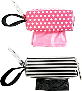 Diaper Bag Clip-On Dispensers with Disposable Bags for Dirty Diapers and Other Messes - Set of 2, Pink Dots, Black and White Stripe