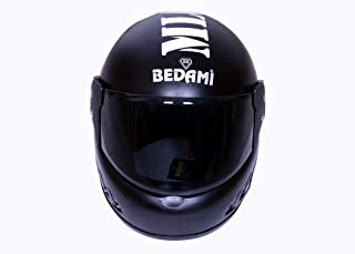 Bedami SJ-0001 Wiz Reflective Full Face Helmet (Large 580 MM, Black with Plain Visor)