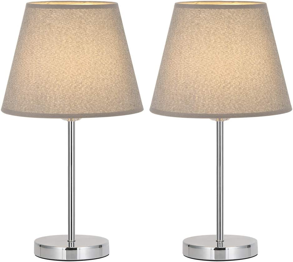 Silver//Gray Kids Room with Mini Metal Basic and Fabric Lamp Shade Small Nightstand Lamps Set of 2 for Bedroom Office HAITRAL Modern Table Lamps College Dorm