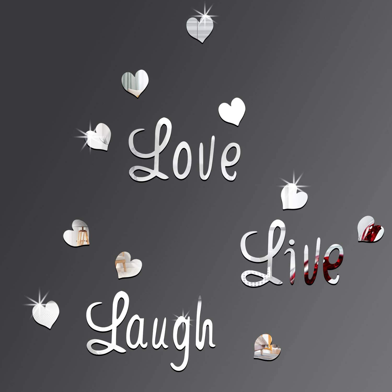 DIY Silver Love Live Laugh Mirror 3D Heart Free Shipping shopping New Combination Wa