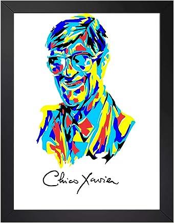 quadro chico xavier arte tamanho 45x35cm