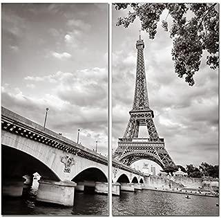 Canvas Wall Art Decor - 12x24 2 Piece Set (Total 24x24 inch)- B&W Paris Eiffel Tower - Decorative & Modern Multi Panel Split Canvas Prints for Dining & Living Room, Kitchen, Bathroom, Bedroom & Office