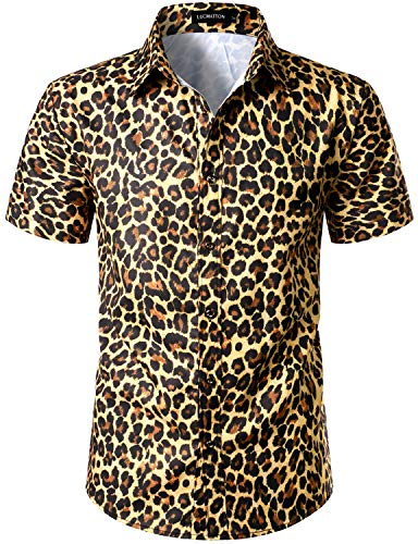 LucMatton Men's Hipster Short Sleeve Button Down Leopard Print Shirt for Club Rock Party Gold XX-Large