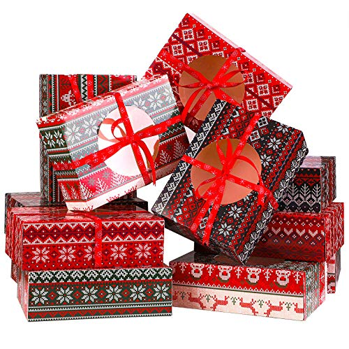 Aneco 12 Pack Ugly Sweater Design Christmas Cookie Boxes Xmas Gift Bags Candy Treat Boxes for Gift Giving Christmas Decorations