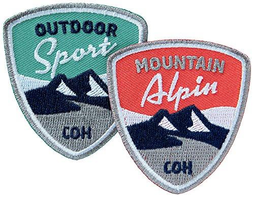 2er-Set Alpin-Sport Abzeichen 55 x 60 mm gestickt / Outdoor Mountain Wandern Bergsteigen Klettern Ski Snowboard Wintersport / Aufnäher Aufbügler Flicken Sticker Patch für Kleidung Tasche Rucksack