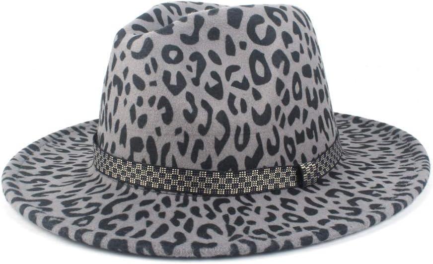 LHZUS Hats Felt Hat Women's Wide-Brimmed Winter Hat Wool Fedora Hat Fashion Autumn Hat Lattice Ribbon Imitation Church Male Hat (Color : Gray, Size : 56-58cm)