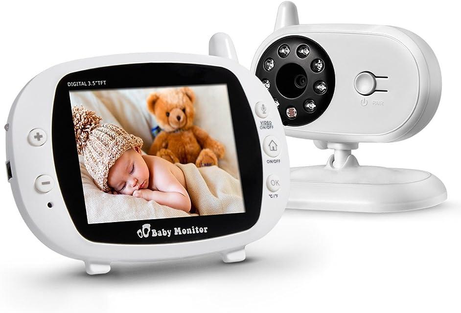 Powerextra Vigilabebé Bebé Monitor Inteligente con LCD 3.5 Cámara Visión Nocturna Cámara Vigilancia Bebé Temperatura Diálogo Canción de cuna Color Blanco