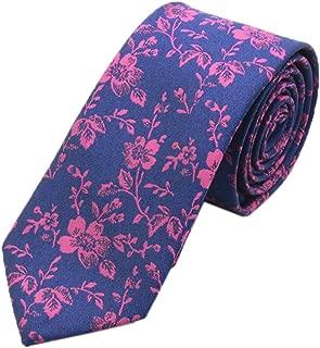 Men's Skinny Wedding Tie Jacquard Luxury Small Floral Pattern Necktie by Ctskyte