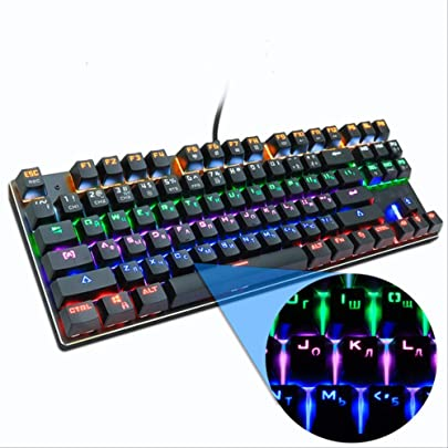 SVANQ Gaming Mechanische Tastatur Blau Rot Schalter 87key Ru us Verdrahtete Tastatur Anti-Ghosting RGB Mix Hintergrundbeleuchtung F r Gamer PC Laptop Wie abgebildet 87Black Mix Light RU Schätzpreis : 53,35 €