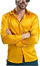 ARJOSA Men's Silky Long Sleeve Button-Down Party Club Dress Shirt
