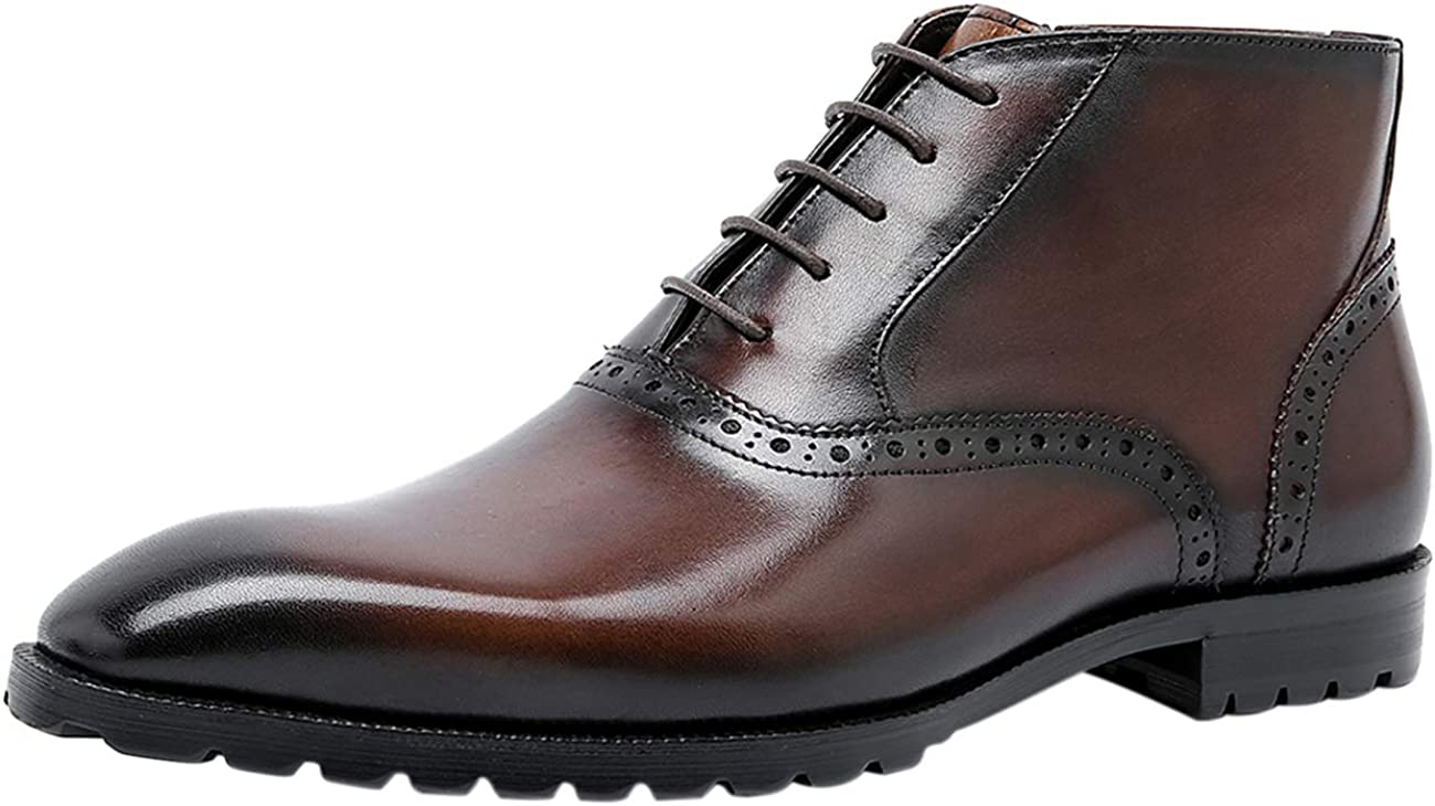 Men Dress Ankle Lace-up Oxford Plain Toe Formal Brogue Leather Casual Boots Black Brown Grey