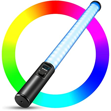 Handheld Light Wand, RGB LED Video Light 16 Million Colors, Tube Light for Photography Light Stick with Dimming 2500K-8500K 3253 Lumens Rechargeable Battery OLED Display Aluminum Body (Black)