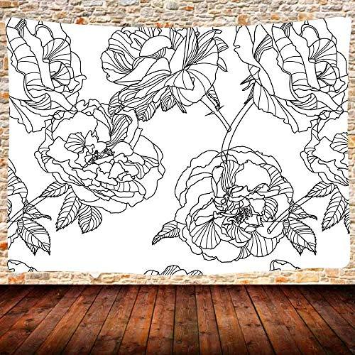 KBIASD Boceto Flores Arte Tapiz Blanco y Negro Rosa Flor Hojas Línea Boceto Flor Flores Primavera Tapiz Naturaleza Diseño Vintage Arte Impreso Decoración para el hogar Colgante de pared 80x60 pulgadas