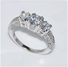 LIEJIE Natural Silver Gemstone Luxury Court Birthstone Bride Engagement Wedding Ring Diver Analog Carat Blue Diamond Beautiful Designer Anniversary Vintage Ring Band (D)