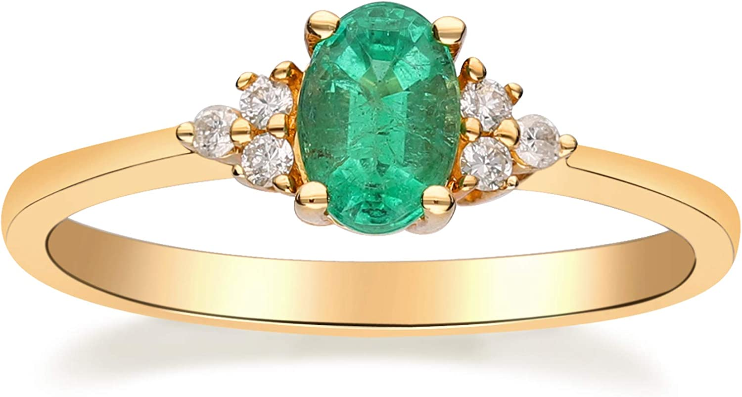 Gin and Grace 5☆好評 10K Yellow Gold Zambian 人気上昇中 with Emerald Natural Ring