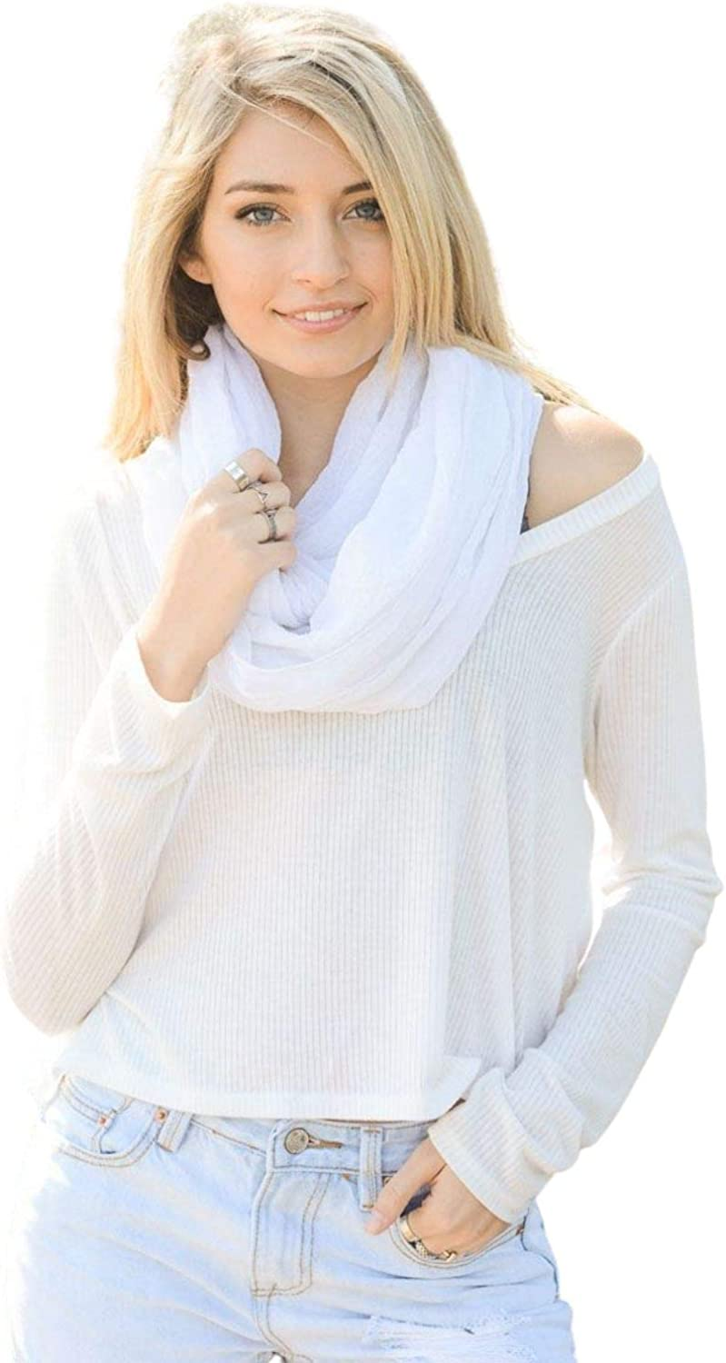 Women Scarf and Wrap Basic Crinkle Infinity Scarf Lightweight Warm Fall Winter and all Season Scarves Soft Cozy Fashion