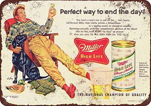 VEHFA 1955 Miller High Life and Hunting Vintage Look Reproduction Metal Tin Sign 12X18 Inches
