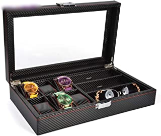 Watch 6 Slot Watch Display Box Watch Storage Box with Pillows Holders Watch, Fashion Watch (Color : Black6+3)