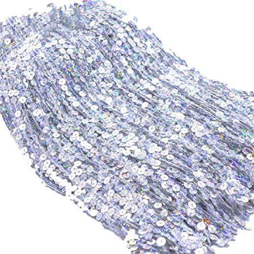 Yalulu 6,5 yardas longitud 30 cm de ancho con borla de lentejuelas, borla de flecos, cinta de flecos, vestido latino, vestido garment Apparel encaje accesorios de costura (plata)