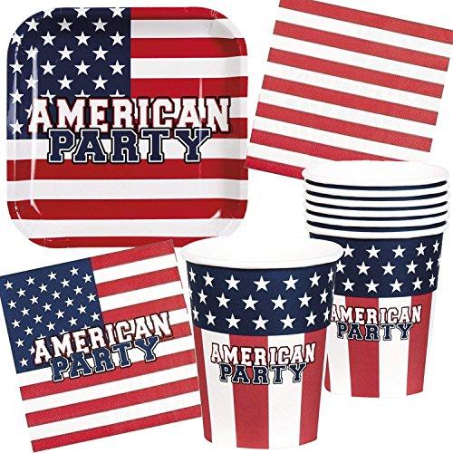 Neu: 61-tlg. Partyset * USA * mit Teller + Becher + Servietten + Deko | Amerika Motto U.S. Mottoparty Set Dekoration Party