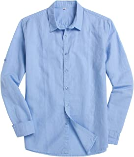 Chouyatou Men's Classic Fit Long Sleeve Button Up Linen Casual Shirt