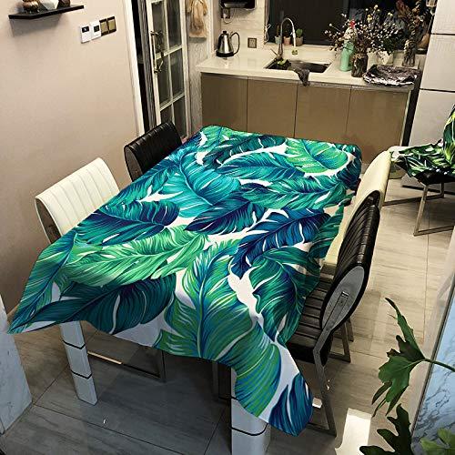 ZHENQI Polyester wasserdichte gepolsterte Tischdecke, digital Bedruckte Tischdecke, Home Fashion Tischdecke, grüne Pflanze Serie ZB2031-6 140x180cm