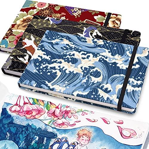 PPuujia - Taccuino ad acquerello, con carta da disegno, professionale, per album da disegno, diario artistico, blocco note vuoto, fascia elastica portatile, colore: L