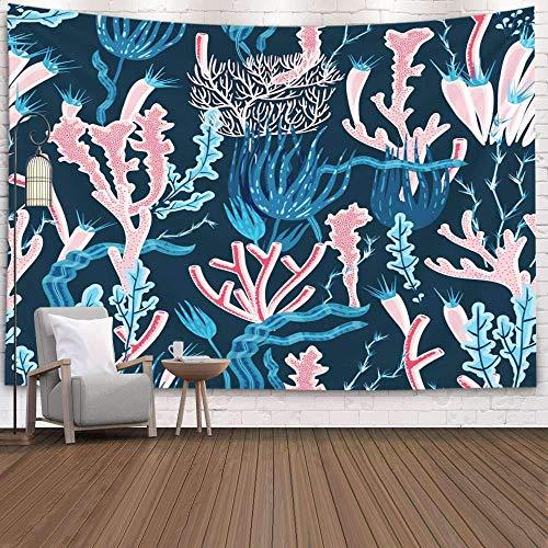N\A Tapiz de Pared, tapices Deacutecor para Sala de Estar para el hogar de Printed for Coral Reef Deep Sea and Seaweed Pattern Flat, Beige Grey