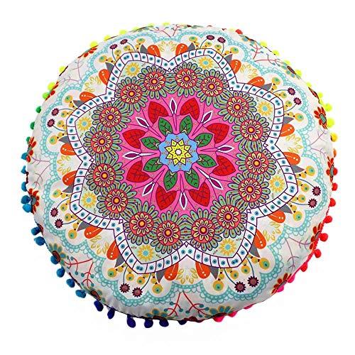 VJGOAL Moda Casual India Mandala Piso Funda de Almohada Redondo Bohemio Jacquard impresión Funda de cojín(43_x_43_cm,Multicolor4)