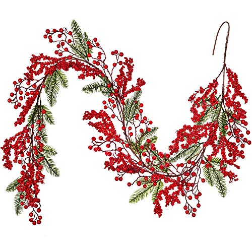 Lvydec Red Berry Garland Christmas Decoration - 6ft Artificial Greenery Garland with Red Berries and Spruce Stems for Holiday Fireplace Mantel Table Decorations