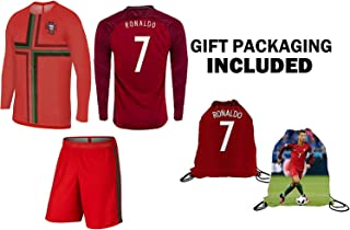 Cristiano Ronaldo Portugal Home Long/Short Sleeve Kids Jersey Shorts Set Youth Sizes Backpack Gift Packaging