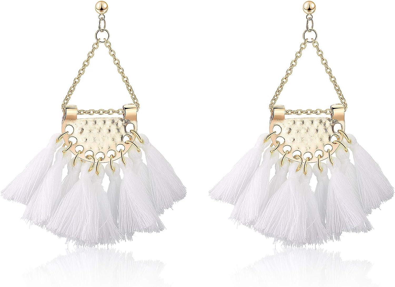 Buyless Fashion Womens Tassel Clip On Earrings, Long Dangle Thread None piercing Triangle Fringe Earrings